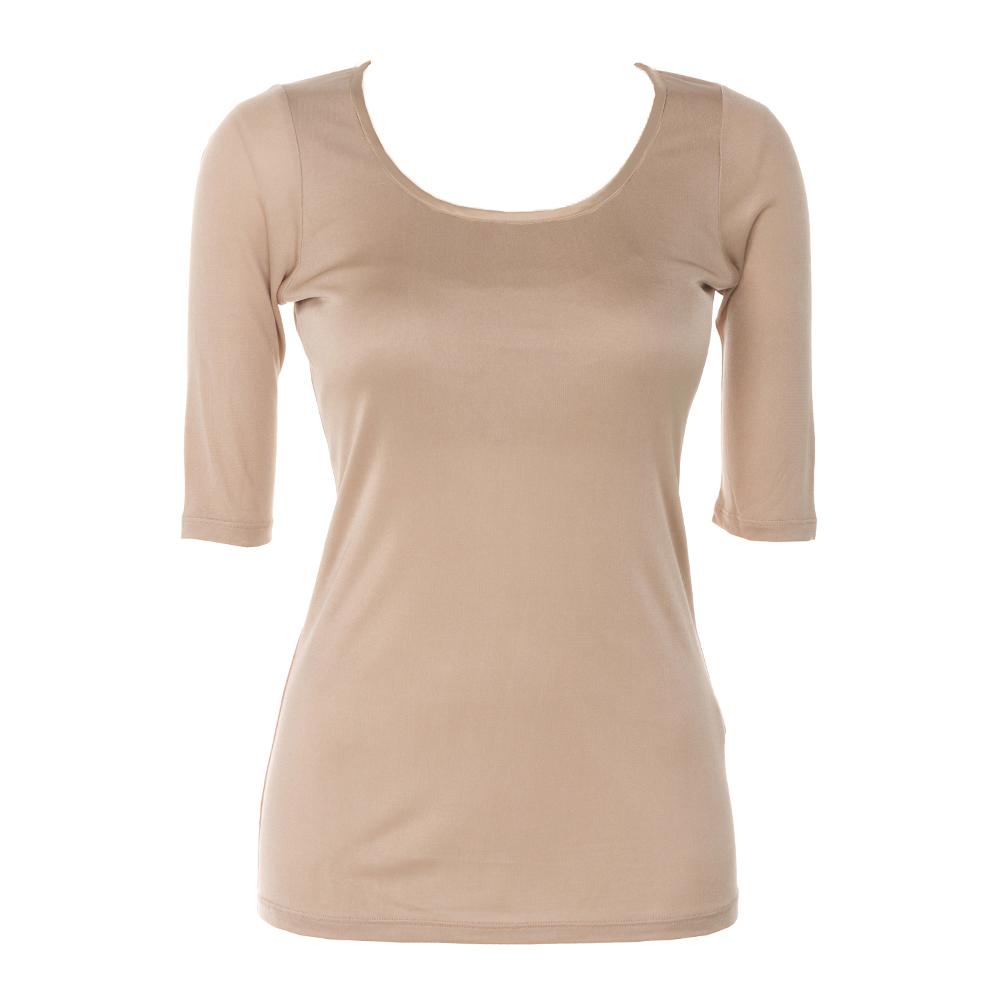 シルク 胸パット付き5分袖