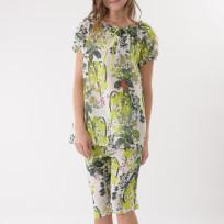 グリーンフラワー 半袖パジャマ